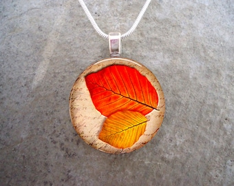 Red & Gold Autumn Leaves Pendant - Fall Themed Jewelry - 1 Inch Domed Glass - Necklace or Keychain - Free Shipping - Style AUTUMN06