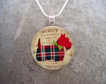 Red Plaid Scottie Dog Jewelry - 1 Inch Diameter Glass Pendant Necklace or Key Chain - Cute Gift for Teens - Free Shipping - Style SCOTTIE14