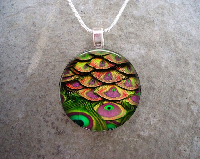 Peacock 16 - Green and Pink Feather Jewelry - Glass Pendant Necklace