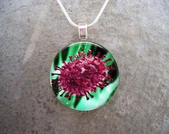 Virus Jewelry - Glass Pendant Necklace - Science Jewellery - Free Shipping - sku VIRUS13