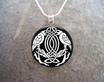 Celtic Jewelry - Glass Pendant Necklace - Free Shipping - sku CELTIC04