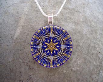 Mandala Jewelry - Glass Pendant Necklace - Free Shipping - Style MANDALA04