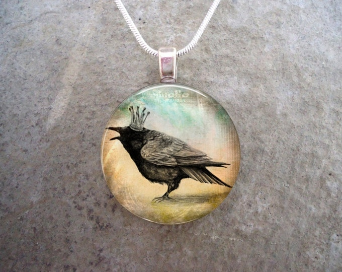 Royal Raven Pendant - Goth, Steampunk, Pagan, Druid Jewelry - 1 Inch Glass Pendant Necklace - Free Shipping - Style RAVEN18