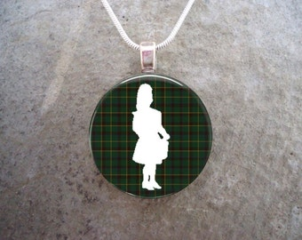 Celtic Jewelry - Glass Pendant Necklace - Highland Bagpipe Jewellery - Drummer on Green Tartan