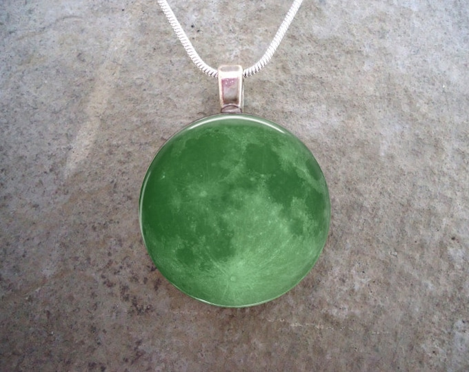 Green Full Moon Necklace - Beautiful 1 Inch Diameter Glass Photo Pendant - Astronomy or Science Gift - Style MOON-GREEN