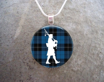 Highland Bagpipe Player Pendant Jewelry - White Silhouette on Blue Plaid Tartan - For Musicians, Instructors, Students - Style HIGHLAND02