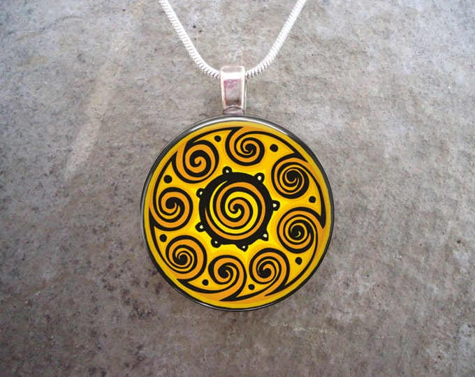 Yellow Spiral Celtic Mandala Jewelry - 1 Inch Circle Domed Glass Pendant Necklace or Key Chain - Free Shipping - Style CELTIC27