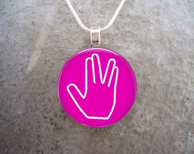 Star Trek Jewelry -  Live Long And Prosper - Glass Pendant Necklace - LLAP on Pink
