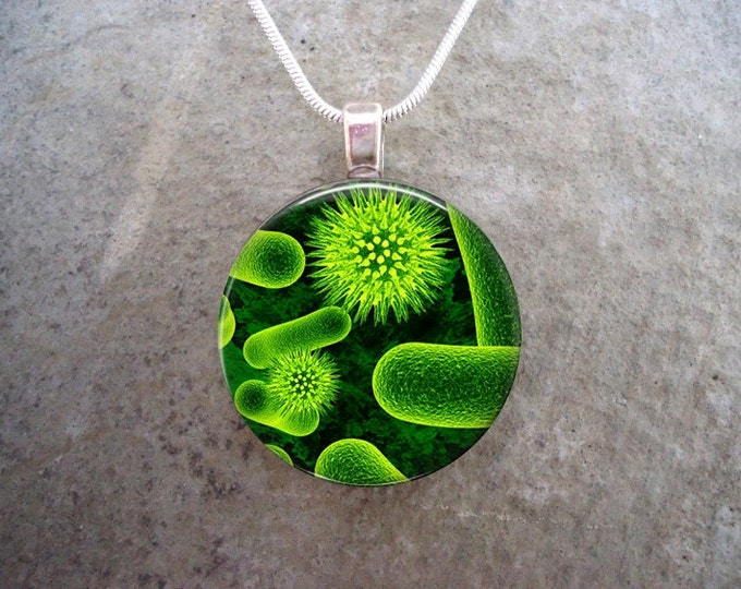 Green Virus Microscopic Image Jewelry - 1 Inch Glass Pendant for Necklace or Key Chain - Free Shipping - Style VIRUS03