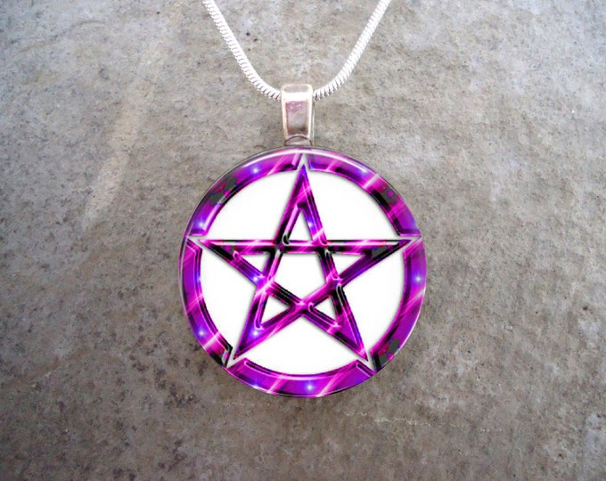 Wiccan Pentacle Jewelry - Glass Pendant Necklace - White and Pink - Free Shipping - sku PENT-W-PINK