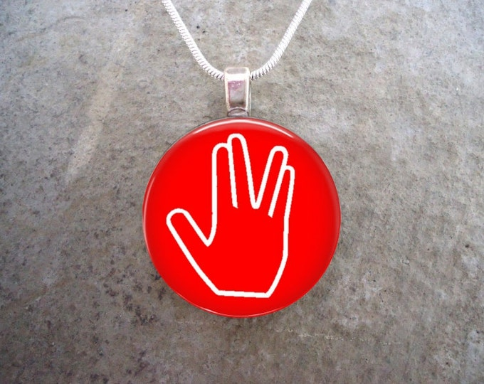 Star Trek Jewelry -  Live Long And Prosper - Glass Pendant Necklace - LLAP on Red