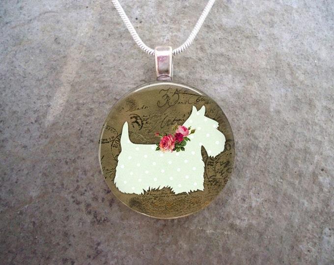 Celtic Jewelry - Dog Jewellery - Glass Pendant Necklace - Free Shipping - Style SCOTTIE13