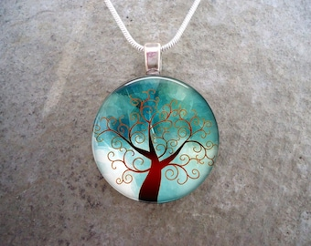 Tree Jewelry - Glass Pendant Necklace - Tree of Life Jewellery - Free Shipping - Style TREE02