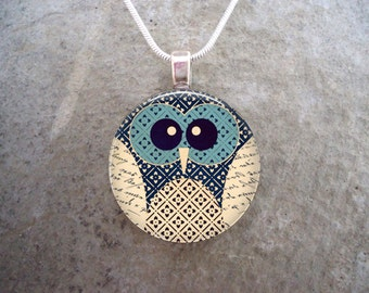 Super Cute Little Owl Jewelry - 1 Inch Diameter Domed Glass Tile Pendant Necklace or Key Chain - Great Gift - Free Shipping - sku OWL08