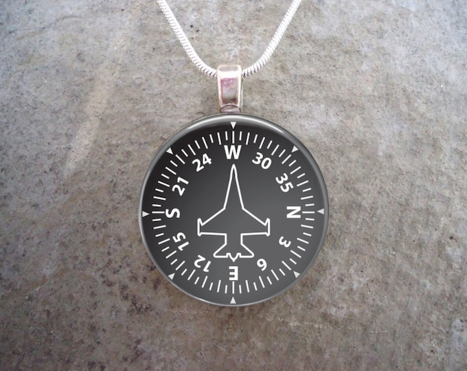 Heading Indicator Necklace - 1 Inch Diameter Glass Domed Pendant or Key Chain -Collect all six designs - Style - PILOT-HEADING