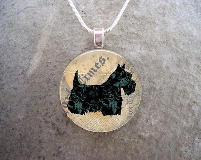 Celtic Jewelry - Dog Jewellery - Glass Pendant Necklace - Free Shipping - Style SCOTTIE17