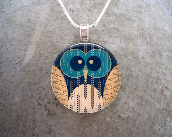 Cute Patchwork Owl Jewelry - 1 Inch Diameter Glass pendant Necklace or Keychain - Looks Great on Backpack Zippers -sku OWL04