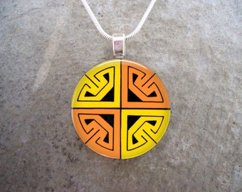 Yellow & Orange Celtic Themed Jewelry - 1 Inch Diameter Glass and Resin Pendant Necklace or Key Chain Charm - Free Shipping - Style CELTIC16