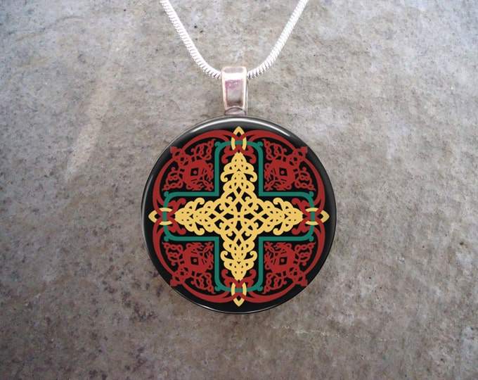 Celtic Jewelry - Red and Yellow Knotwork Mandala - 1 Inch Diameter Glass Pendant Necklace or Keychain- Free Shipping - Style CELTIC19
