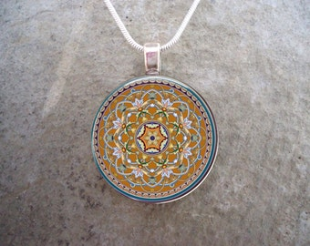 Earth Tones Mandala - Celtic Jewelry - 1 Inch Diameter Domed Glass Pendant Necklace  - Free Gift Bag - Free Shipping - Style CELTIC31