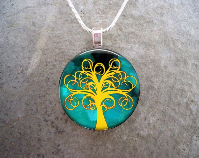 Tree Jewelry - Glass Pendant Necklace - Tree of Life Jewellery - Free Shipping - sku TREE13