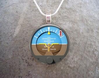Fun Pilot Jewelry - Attitude Indicator Dial - 1 Inch Diameter Glass Pendant for Necklace, Collectible - Style PILOT-ATTITUDE