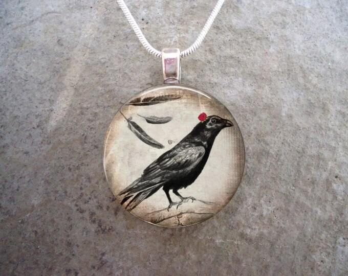 Crow Jewelry - Bird Jewellery - Glass Pendant Necklace - Raven 20