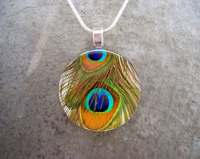 Peacock 11 - Yellow Feather Jewelry - Glass Pendant Necklace
