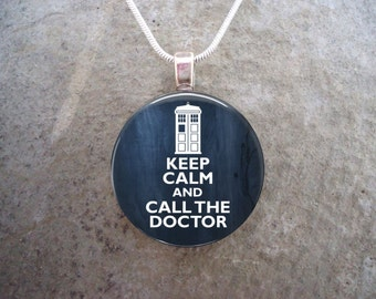 Doctor Who Jewelry - Glass Pendant Necklace - Keep Calm and call The Doctor - Free Shipping - sku DW-KEEPCALM