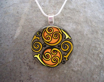 Celtic Knotwork Spiral Pendant - Orange, Yellow and Brown - Neutral Tones - 1 Inch Domed Glass Necklace - Free Shipping - sku CELTIC24