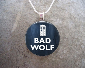 Doctor Who Jewelry - Glass Pendant Necklace - Bad Wolf - Free Shipping - Style DW-BADWOLF