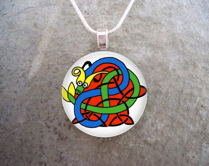 Celtic Jewelry - Colorful Knotwork Animal - 1 Inch Diameter Glass Pendant Necklace - Wonderful Teacher Gift - Free Shipping - Style CELTIC18
