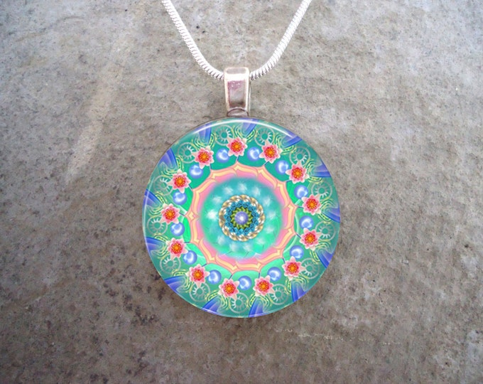 Light Blue & Pink Floral Mandala Pendant - 1 Inch Domed Glass Jewelry - Necklace or Key Chain - Free Shipping - sku MANDALA07