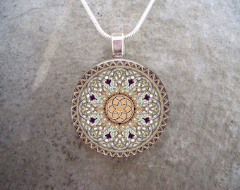 Celtic Knotwork Jewelry - 1 Inch Diameter Glass Pendant for Necklace, Keychain, Zipper Pull - Free Shipping - Style CELTIC32