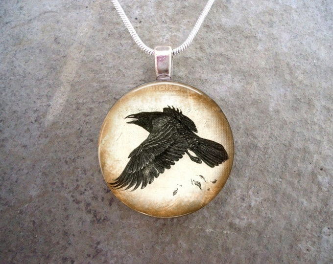 Crow Jewelry - Glass Pendant Necklace - 1 Inch Diameter Domed Glass - Gift - Made in Canada