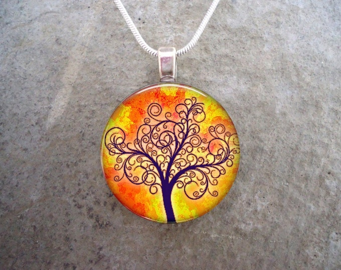 Tree Jewelry - Glass Pendant Necklace - Tree of Life Jewellery - Free Shipping - sku TREE09
