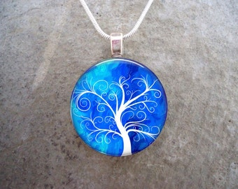 Tree Jewelry - Glass Pendant Necklace - Tree of Life Jewellery - Free Shipping - Style TREE05