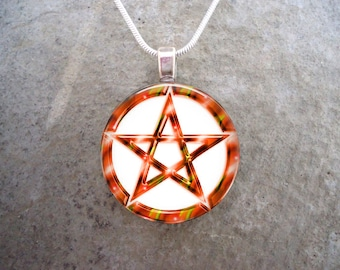 Wiccan Pentacle Jewelry - Glass Pendant Necklace - White and Orange - Free Shipping - sku PENT-W-ORANGE