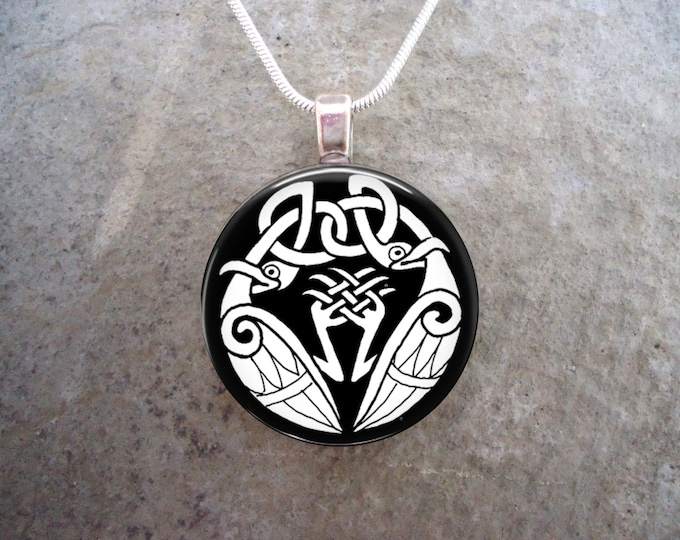 Celtic Knot Work Jewelry - Glass Pendant Necklace - 1 Inch Diameter - Gift for Bridesmaids, Mother's Day - Free Shipping - Style CELTIC08