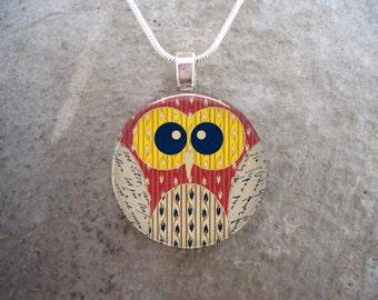 Owl Jewelry - Glass Pendant Necklace - Free Shipping - sku OWL07