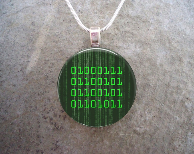 Retro Computer Science Binary Geek Jewelry - 1 Inch Diameter Domed Glass Pendant for Necklace or Key Chain - Free Shipping - sku BINARY-GEEK