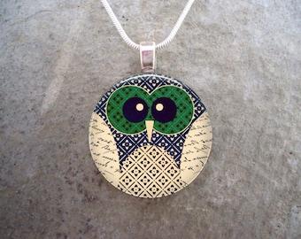 Owl Jewelry - Glass Pendant Necklace - Free Shipping - sku OWL02