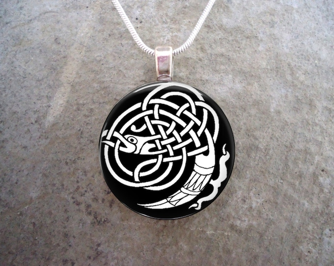 Celtic Jewelry - Simple Black & White Knotwork Stylized Bird - 1 Inch Circle Glass Pendant Necklace - Free Shipping - Style CELTIC05