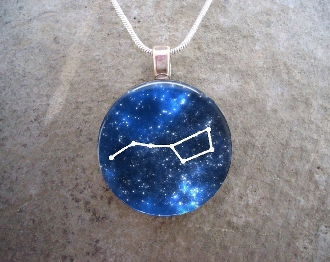 Big Dipper Constellation - 1 Inch Circle Domed Glass Pendant Necklace, Keychain - Horoscope, Astrology - Free Shipping - Style CON-URSAMAJOR