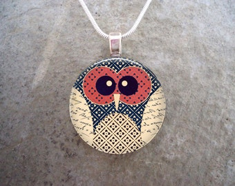 Sweet Little Red and Beige Patchwork Owl Jewelry - Boho Style Pendant - 1 Inch Diameter Glass Pendant for Necklace, Key Chain - Style OWL14