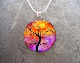 Tree Jewelry - Glass Pendant Necklace - Tree of Life Jewellery - Free Shipping - sku TREE14