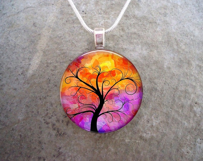 Stunning Sunset Tree Silhouette Pendant Necklace or Key Chain - 1 Inch Diameter Domed Jewelry - Free Shipping - Style TREE14
