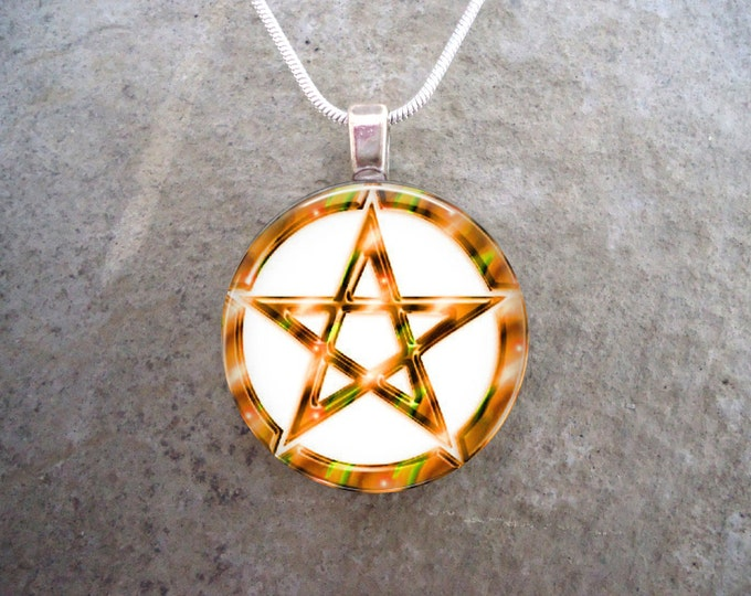 Wiccan Pentacle Jewelry - Glass Pendant Necklace - White and Yellow - Free Shipping - sku PENT-W-YELLOW