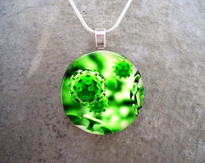Brilliant Green Virus Jewelry - Cool Science Pendant Necklace, Key Chain, Zipper Pull - Handmade in Canada - Free Shipping - Style VIRUS15