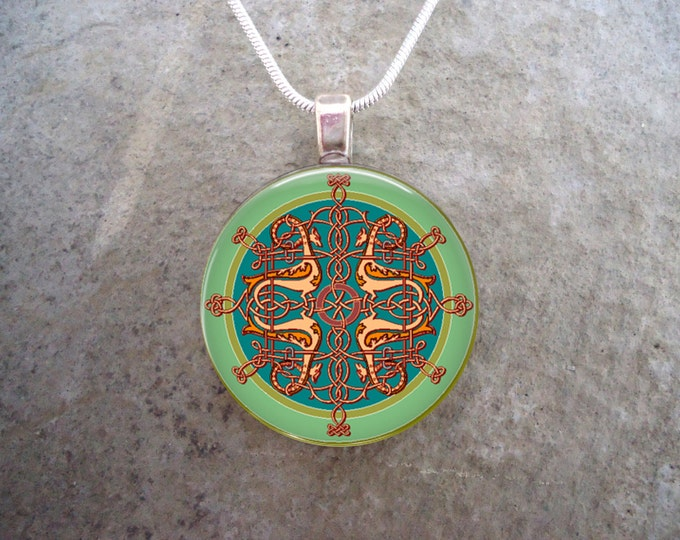 Colorful Celtic Jewelry - 1 Inch Diameter Domed Glass Pendant Necklace, Key Chain, Zipper Pull - Free Shipping from Canada - Style CELTIC15